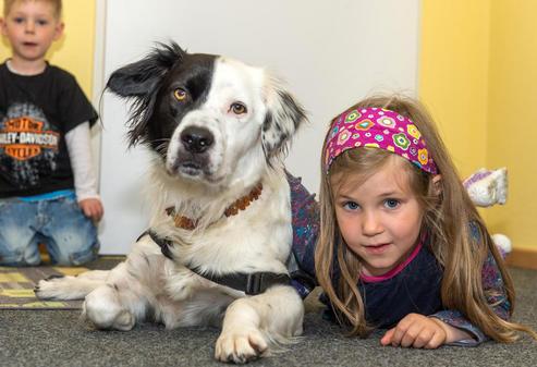 Auch Kuscheln ist wichtig. Hund Alex genießt die Streicheleinheiten von Emily. Quelle: Sven Janssen